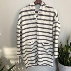 PJ Salvage Medium Fleece Jacket Striped Pockets